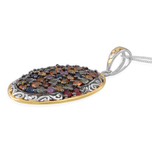 Designer Inspired-AAA Rainbow Sapphire (Rnd) Cluster Pendant with Chain in Rhodium and Yellow Gold Overlay Sterling Silver 6.000 Ct.