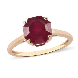 9K Yellow Gold AA African Ruby Solitaire Ring 3.00 Ct.