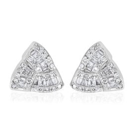 0.33 Carat Diamond Celtic Knot Stud Earrings in Platinum Plated Sterling Silver
