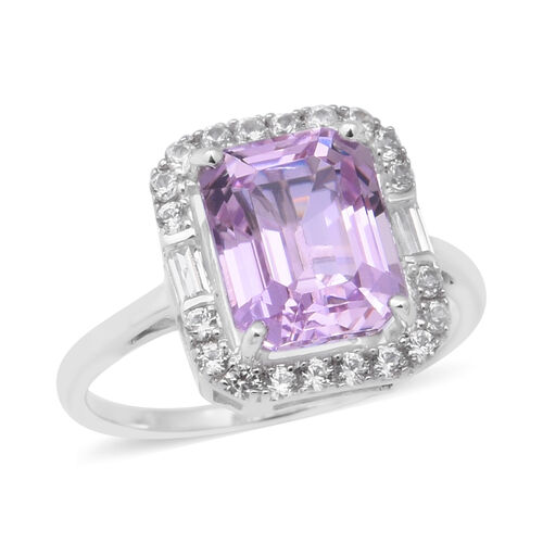 12.20 Ct AA Kunzite and Zircon Halo Ring in 9K White Gold