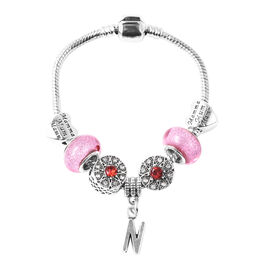 N Initial Charm Bracelet for Children in Simulated Pink Colour Bead, Red and White Austrian Crystal