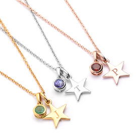 Personalised Engraved Birthstone and Initial Star Pendant with 20Inch Chain in Silver