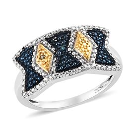 Blue and Yellow Diamond (Rnd) Ring (Size O) in Platinum Overlay Sterling Silver