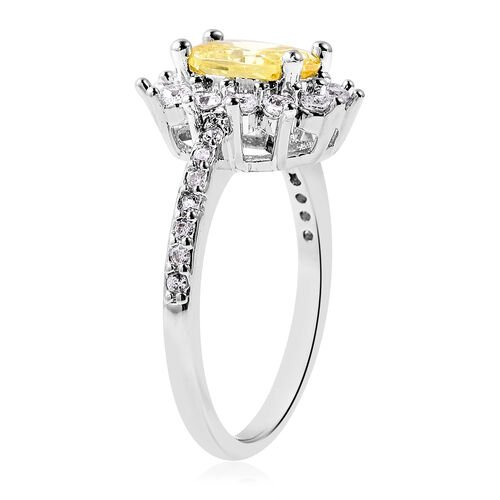 3 Piece Set - Simulated Yellow Sapphire and Simulated Diamond Sunburst Theme Ring, Stud Earrings (with Push Back) and Pendant with Chain (Size 20 with 2 inch Extender) in Silver Tone