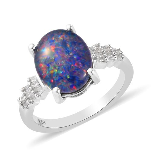 2.25 Ct Boulder Opal and Natural Diamond Ring in Platinum Overlay Sterling Silver