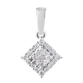 0.33 Ct Diamond Cluster Pendant  in 9K White Gold SGL Certified I3 GH