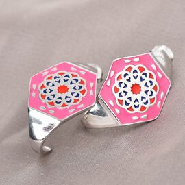 Platinum Overlay Sterling Silver Enamelled Earrings (with Push Back), Silver wt. 9.50 Gms