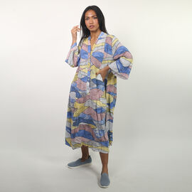 NOVA of London - Abstract Midi Smock Dress in White and Multi (Size up to 18)