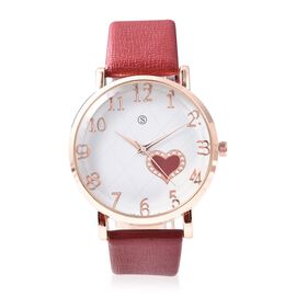 STRADA Japanese Movement Water Resistance Watch in Rose Tone - Red