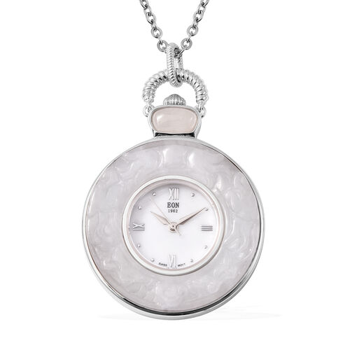 White Jade Swiss Movement Watch with Chain (Size 32) in Rhodium Overlay Sterling Silver and Stainles