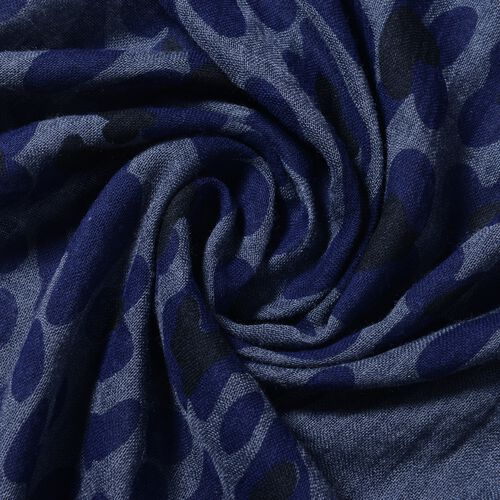 New Season- Navy and Dark Grey Colour Leopard Print and Solid Colour Pattern Scarf (Size 178x100 Cm)