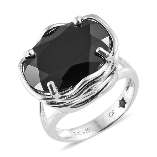 GP Boi Ploi Black Spinel (Ovl 16x12 mm), Kanchanaburi Blue Sapphire Ring in Platinum Overlay Sterlin