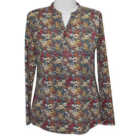 SUGARCRISP Long Sleeve Floral Print Top in Grey and Multi Colour (Size XL)