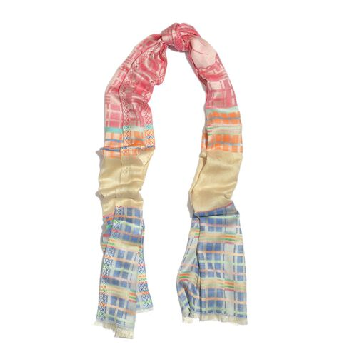 100% Modal Cream, Pink and Multi Colour Checks Pattern Jacquard Scarf (Size 190x70 Cm)