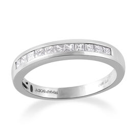 RHAPSODY 950 Platinum IGI Certified Diamond (Sqr) (VS/E-F) Half Eternity Ring 0.500 Ct.