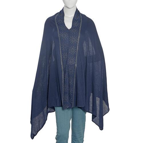 Designer Inspired- Designer Inspired- Swarovski Crystal Embellished Navy Colour Kaftan (Size 151.13x69.85Cm)