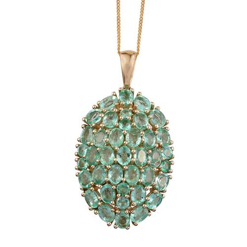 9K Yellow Gold Boyaca Colombian Emerald (Ovl) Cluster Pendant With Chain 5.500 Ct.