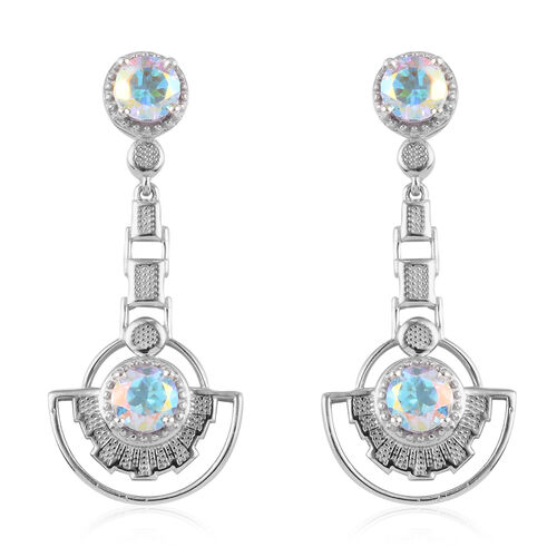 Mercury Mystic Topaz Earrings (with Push Back) in Platinum Overlay Sterling Silver 2.25 Ct, Silver w