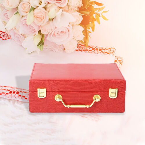Grace Collection - Two Layer Lizard Skin Pattern Anti-Tarnish Jewellery Box with Inside Mirror and Removable Tray (Size 24x18.5x8.5cm) - Red