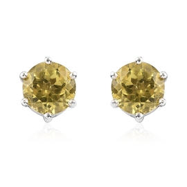 Yellow Apatite Stud Earrings (with Push Back) in Platinum Overlay Sterling Silver 1.50 Ct.