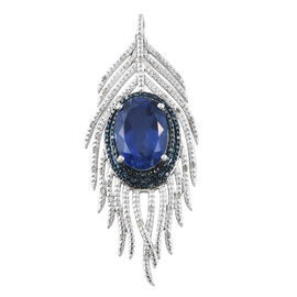 Ceylon Colour Quartz (Ovl 13.900 Ct), Blue and White Diamond Peacock Feather Pendant in Platinum Overlay Sterling Silver 14.500 Ct, Silver wt 13.76 Gms
