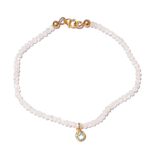 Rainbow Moonstone (Rnd), Tanzanite Bracelet (Size 7.5) with Circle Charm in Yellow Gold Overlay Sterling Silver 9.840 Ct.