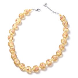 Champagne Murano Style Glass (Rnd) Beads Necklace (Size 22) in Silver Tone
