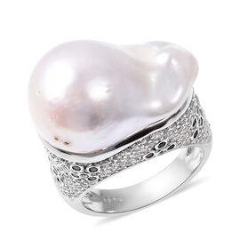 Baroque Fresh Water White Pearl, Natural Cambodian White Zircon and Boi Ploi Black Spinel Ring in Rh