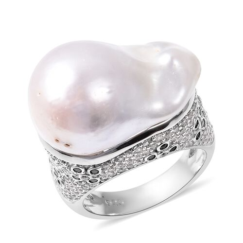 Baroque Fresh Water White Pearl and Multi Gemstone Solitaire Design Ring in Rhodium Plated Silver