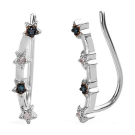 Blue and White Diamond (Rnd) Climber Earrings in Platinum Overlay Sterling Silver 0.10 Ct.
