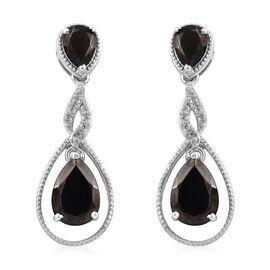 Elite Shungite (Pear), Natural Cambodian Zircon Earrings (with Push Back) in Platinum Overlay Sterli