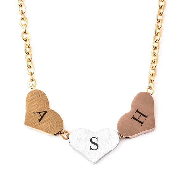 Personalised Engravable Three Initial Heart Necklace, Size 18+2 Inch, Stainless Steel