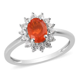 Crimson Fire Opal and Natural Cambodian Zircon Halo Ring in Platinum Overlay Sterling Silver 1.00  C