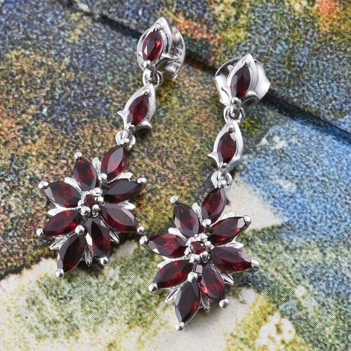 Arizona Anthill Garnet (Mrq) Floral Earrings (with Push Back) in Platinum Overlay Sterling Silver 3.250 Ct.