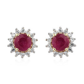3.06 Ct African Ruby and Cambodian Zircon Halo Stud Earrings in Rhodium Plated 9K Gold 1.4 Grams