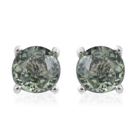 Green Sapphire (Rnd) Stud Earrings (with Push Back) in Rhodium Overlay Sterling Silver 0.600 Ct.