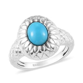 Arizona Sleeping Beauty Turquoise (Ovl 8x6mm) Sunflower Ring in Platinum Overlay Sterling Silver 1.0