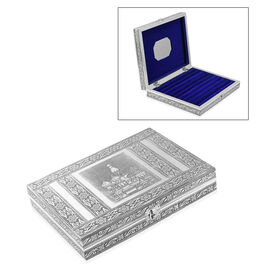 Red Square Embossed Oxidized Ring Organizer Box with 9 Slots (Size L- 20.3 x W- 28 x D- 5 Cm)