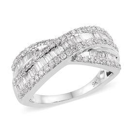 9K White Gold SGL Certified Diamond (Bgt) (I3 / G-H) Ring 1.00 Ct.