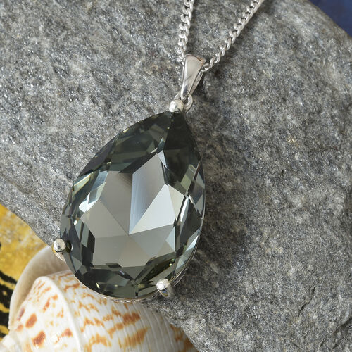 Crystal from Swarovski - Black Diamond Colour Crystal (Pear 30x20 mm) Pendant With Chain (Size 30) in Platinum Overlay Sterling Silver, Silver wt 9.00 Gms.