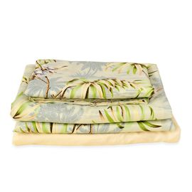 Set of 4 - Double Size Printed Duvet Cover (150x200 cm) with Green, Cream and Multi Colour Floral an