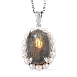 100% Natural Bokonaky Fire Labradorite (Ovl 18x13 mm), Freshwater Pearl Pendant with Chain (Size 18)