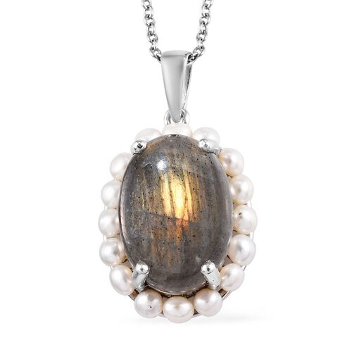 100% Natural Fire Labradorite (Ovl 18x13 mm), Freshwater Pearl Pendant with Chain (Size 18) in Plati