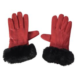 100% Genuine Leather Gloves with Black Faux Fur Around Wrist (Size 9x23 Cm) - Red