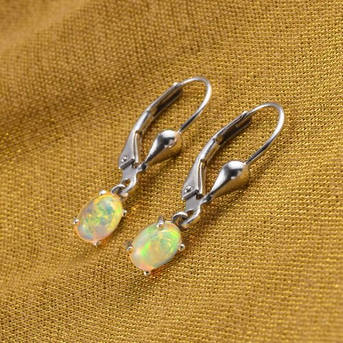 AA Ethiopian Welo Opal Solitaire Lever Back Earring in Platinum Overlay Sterling Silver
