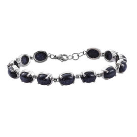 One Time Deal- Blue Sandstone (Ovl) Bracelet (Size 7.5) in Stainless Steel  28.000 Ct.