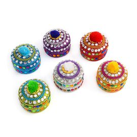 Set of 6 - Handcrafted Multicolour Round Box (Size 6x6x4 Cm) with Velvet Lining