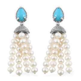 19.50 Ct Fresh Water Pearl and Sleeping Beauty Turquoise Drop Earrings in Platinum Plated Silver 6.80 grams (with Push Back)