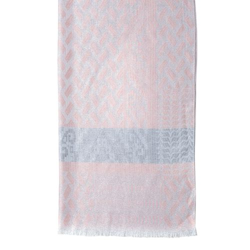Pink and Grey Colour Geometric Drawing Pattern Scarf (Size 195x70 Cm)
