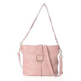 100% Genuine Leather Pink Colour Crossbody Bag with External Zipper Pocket and Removable Shoulder St